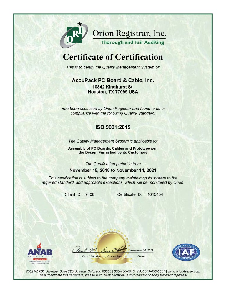 Certificate ISO9001-2015